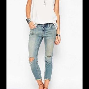 Free People Distressed Jeans With Frayed Hem